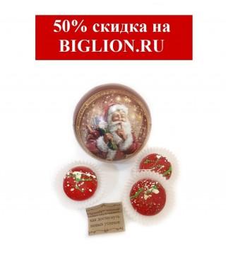 "Новогодний шар ""Санта"" и 3 шт. шоколадного предсказания"