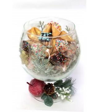 Бокал - 15 шт печенья с предсказаниями в глазури